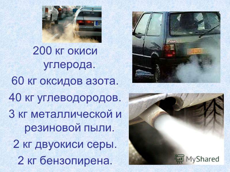 200 кг окиси углерода. 60 кг оксидов азота. 40 кг углеводородов. 3 кг металлической и резиновой пыли. 2 кг двуокиси серы. 2 кг бензопирена.