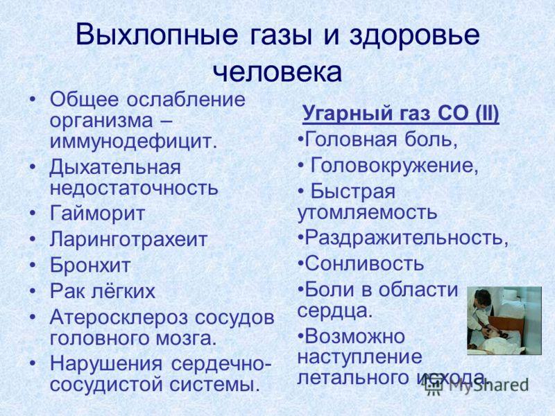 Выхлопные газы и здоровье человека Общее ослабление организма – иммунодефицит. Дыхательная недостаточность Гайморит Ларинготрахеит Бронхит Рак лёгких Атеросклероз сосудов головного мозга. Нарушения сердечно- сосудистой системы. Угарный газ СО (II) Го