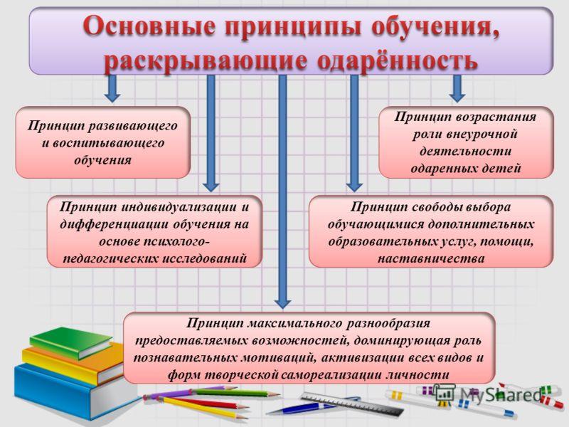 Принцип развивающего и воспитывающего обучения Принцип индивидуализации и дифференциации обучения на основе психолого- педагогических исследований Принцип свободы выбора обучающимися дополнительных образовательных услуг, помощи, наставничества Принци