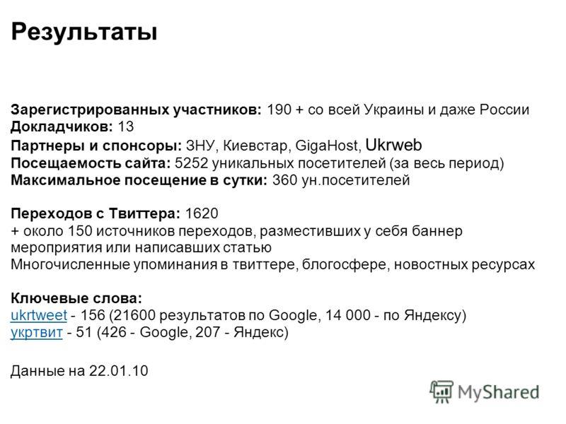 Результаты Зарегистрированных участников: 190 + со всей Украины и даже России Докладчиков: 13 Партнеры и спонсоры: ЗНУ, Киевстар, GigaHost, Ukrweb Посещаемость сайта: 5252 уникальных посетителей (за весь период) Максимальное посещение в сутки: 360 ун