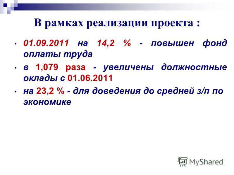В рамках реализации проекта : 01.09.2011 на 14,2 % - повышен фонд оплаты труда в 1,079 раза - увеличены должностные оклады с 01.06.2011 на 23,2 % - для доведения до средней з/п по экономике