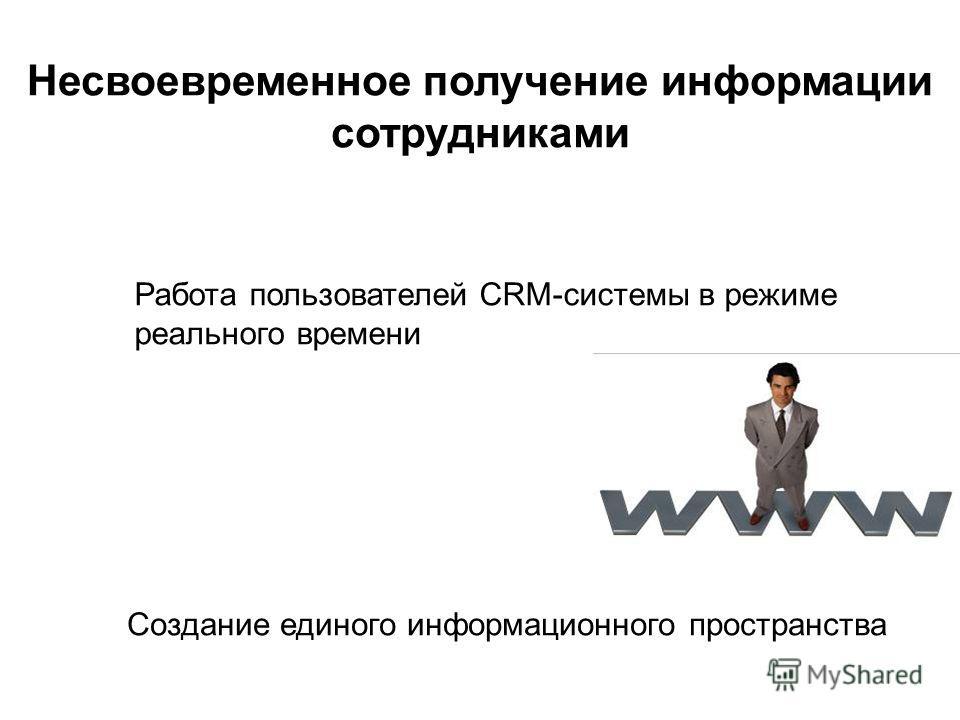 Создание единого информационного пространства Несвоевременное получение информации сотрудниками Работа пользователей CRM-системы в режиме реального времени