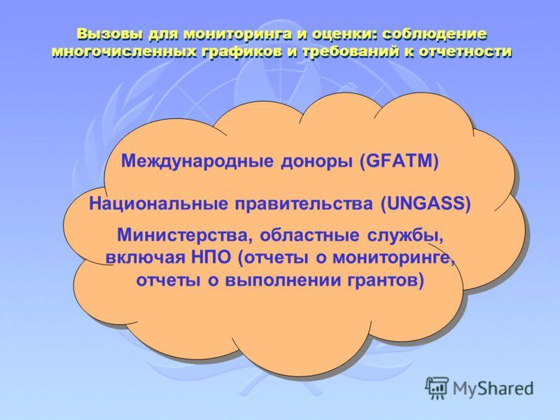 Вызовы для мониторинга и оценки: соблюдение многочисленных графиков и требований к отчетности Международные доноры (GFATM) Национальные правительства (UNGASS) Министерства, областные службы, включая НПО (отчеты о мониторинге, отчеты о выполнении гран