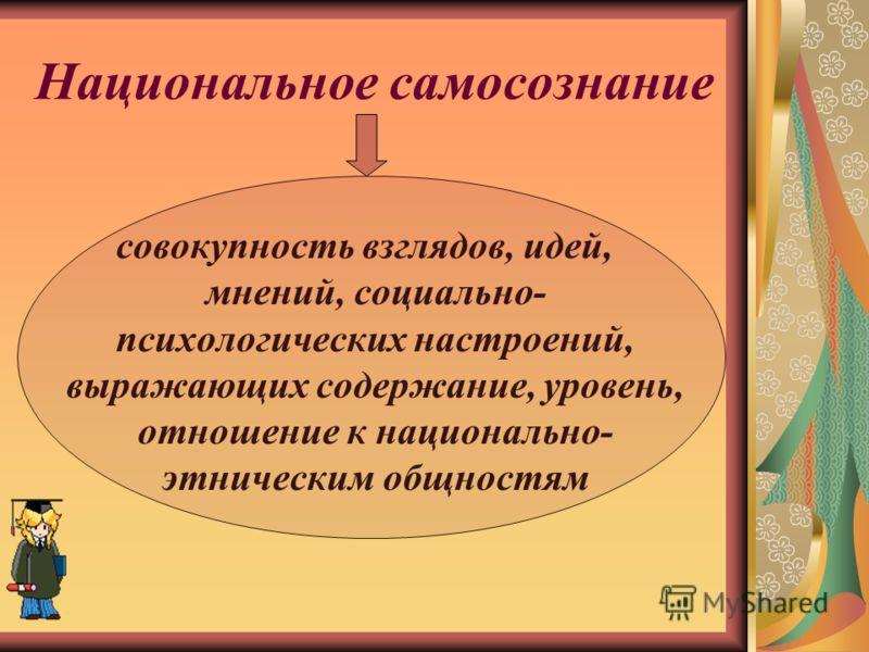 Национальное самосознание совокупность взглядов, идей, мнений, социально- психологических настроений, выражающих содержание, уровень, отношение к национально- этническим общностям