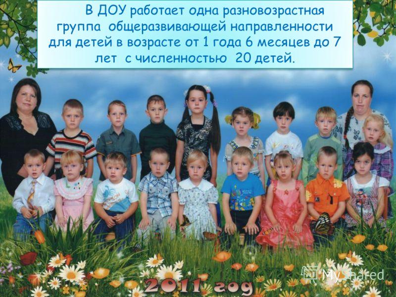 В ДОУ работает одна разновозрастная группа общеразвивающей направленности для детей в возрасте от 1 года 6 месяцев до 7 лет с численностью 20 детей.