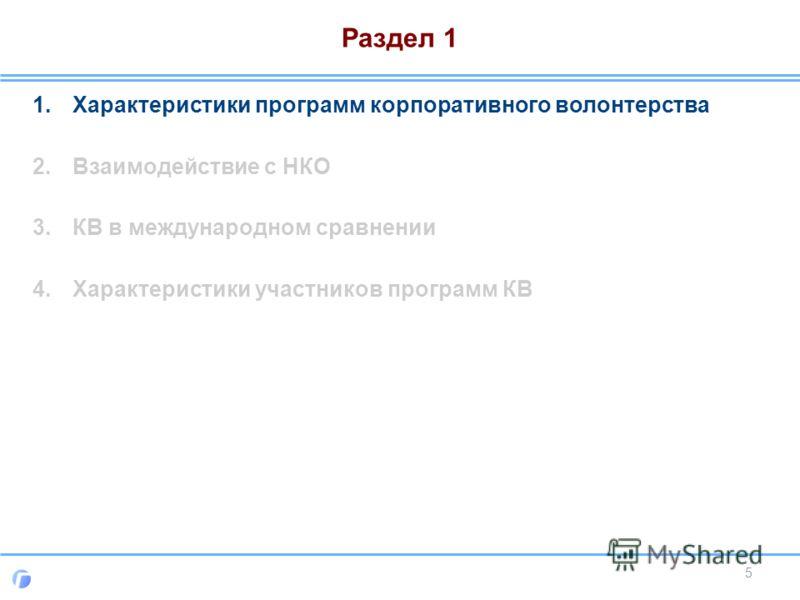 Раздел 1 1.Характеристики программ корпоративного волонтерства 2.Взаимодействие с НКО 3.КВ в международном сравнении 4.Характеристики участников программ КВ 5