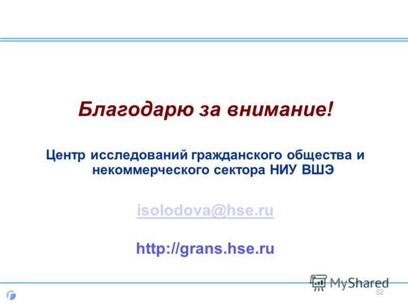 Благодарю за внимание! Центр исследований гражданского общества и некоммерческого сектора НИУ ВШЭ isolodova@hse.ru http://grans.hse.ru 52
