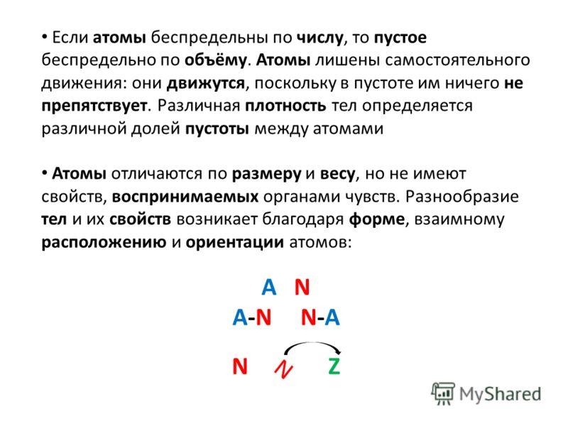 Если атомы беспредельны по числу, то пустое беспредельно по объёму. Атомы лишены самостоятельного движения: они движутся, поскольку в пустоте им ничего не препятствует. Различная плотность тел определяется различной долей пустоты между атомами Атомы