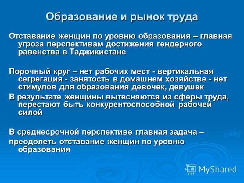 Образование и рынок труда Отставание женщин по уровню образования – главная угроза перспективам достижения гендерного равенства в Таджикистане Порочный круг – нет рабочих мест - вертикальная сегрегация - занятость в домашнем хозяйстве - нет стимулов