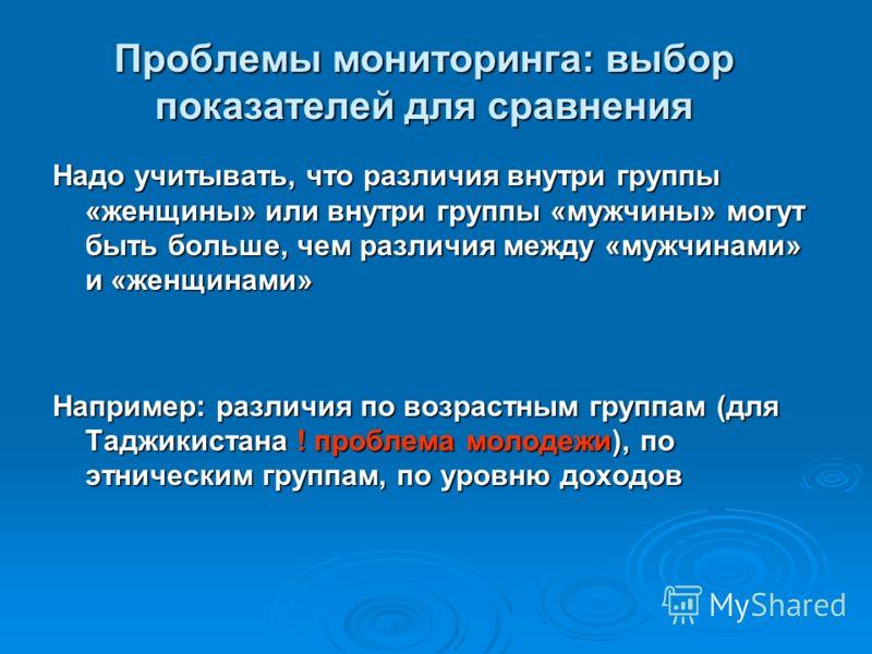 Надо учитывать, что различия внутри группы «женщины» или внутри группы «мужчины» могут быть больше, чем различия между «мужчинами» и «женщинами» Например: различия по возрастным группам (для Таджикистана ! проблема молодежи), по этническим группам, п