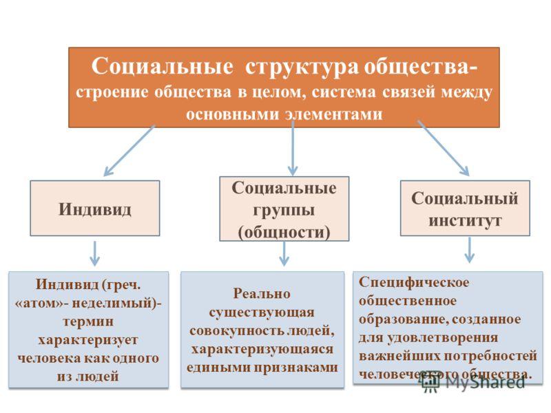 Социальные структура общества- строение общества в целом, система связей между основными элементами Индивид Социальные группы (общности) Социальный институт Реально существующая совокупность людей, характеризующаяся едиными признаками Специфическое о