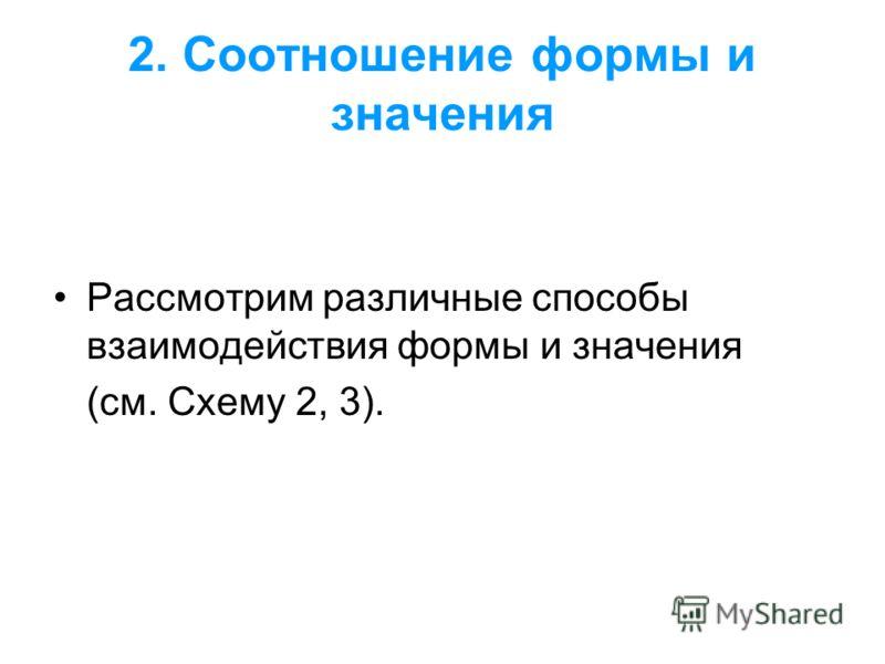 2. Соотношение формы и значения Рассмотрим различные способы взаимодействия формы и значения (см. Схему 2, 3).