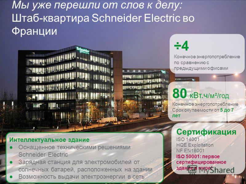 Schneider Electric 30 Мы уже перешли от слов к делу: Штаб-квартира Schneider Electric во Франции ÷4 Конечное энергопотребление по сравнению с предыдущими офисами 80 кВт.ч /м²/год Конечное энергопотребление Срок окупаемости от 5 до 7 лет Сертификация