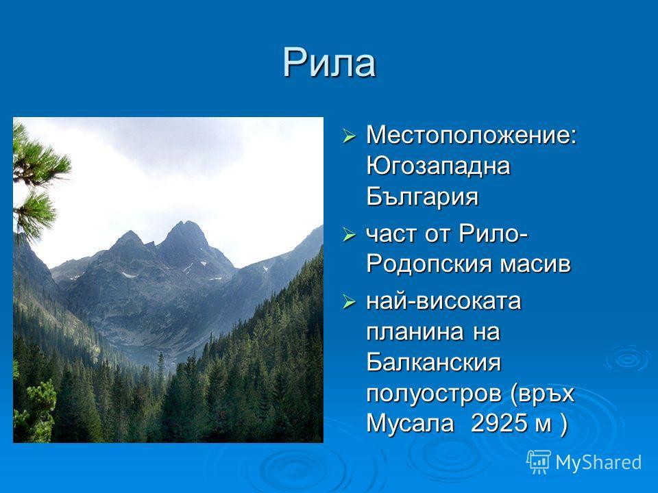Рила Местоположение: Югозападна България Местоположение: Югозападна България част от Рило- Родопския масив част от Рило- Родопския масив най-високата планина на Балканския полуостров (връх Мусала 2925 м ) най-високата планина на Балканския полуостров