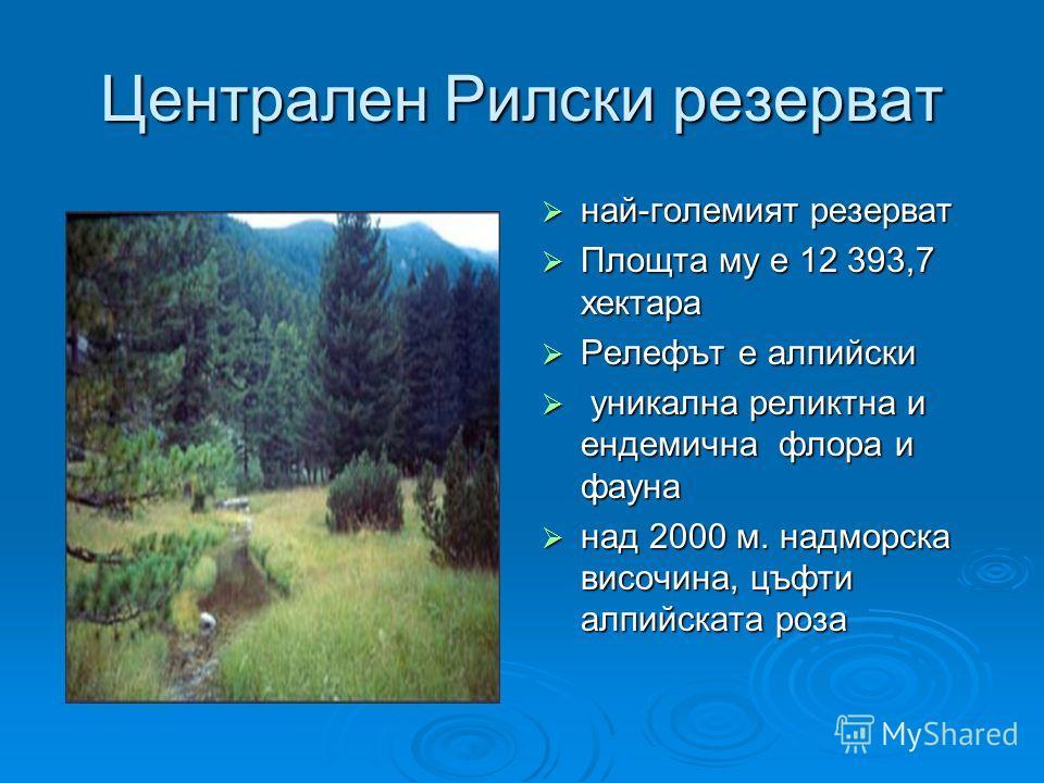 Централен Рилски резерват най-големият резерват най-големият резерват Площта му е 12 393,7 хектара Площта му е 12 393,7 хектара Релефът е алпийски Релефът е алпийски уникална реликтна и ендемична флора и фауна уникална реликтна и ендемична флора и фа