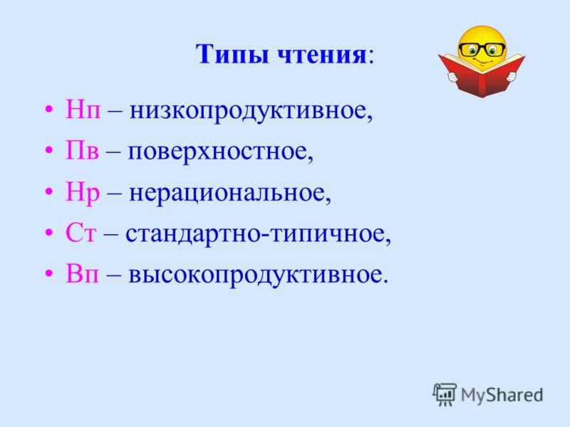 Типы чтения: Нп – низкопродуктивное, Пв – поверхностное, Нр – нерациональное, Ст – стандартно-типичное, Вп – высокопродуктивное.