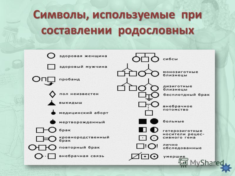 Символы, используемые при составлении родословных