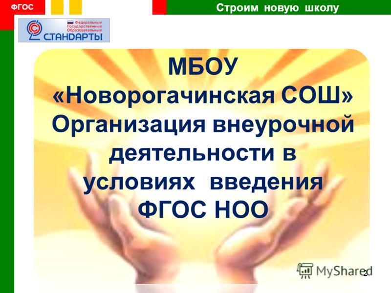 Строим новую школу ФГОС МБОУ «Новорогачинская СОШ» Организация внеурочной деятельности в условиях введения ФГОС НОО 2