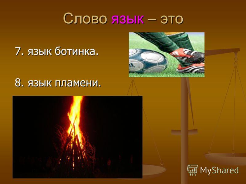 Слово язык – это 7. язык ботинка. 8. язык пламени.