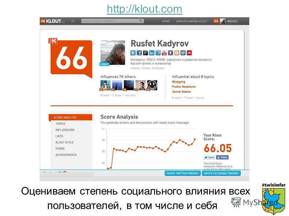 Оцениваем степень социального влияния всех пользователей, в том числе и себя http://klout.com