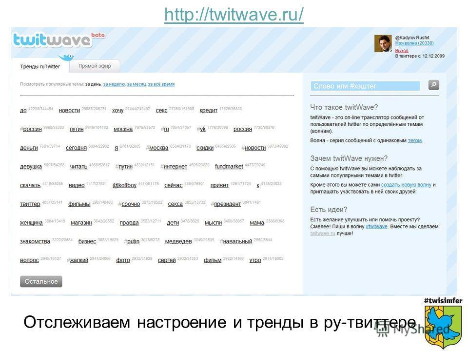 Отслеживаем настроение и тренды в ру-твиттере http://twitwave.ru/