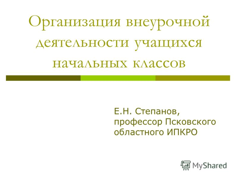 Организация внеурочной деятельности учащихся начальных классов Е.Н. Степанов, профессор Псковского областного ИПКРО