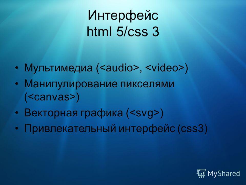 Интерфейс html 5/css 3 Мультимедиа (, ) Манипулирование пикселями ( ) Векторная графика ( ) Привлекательный интерфейс (css3)