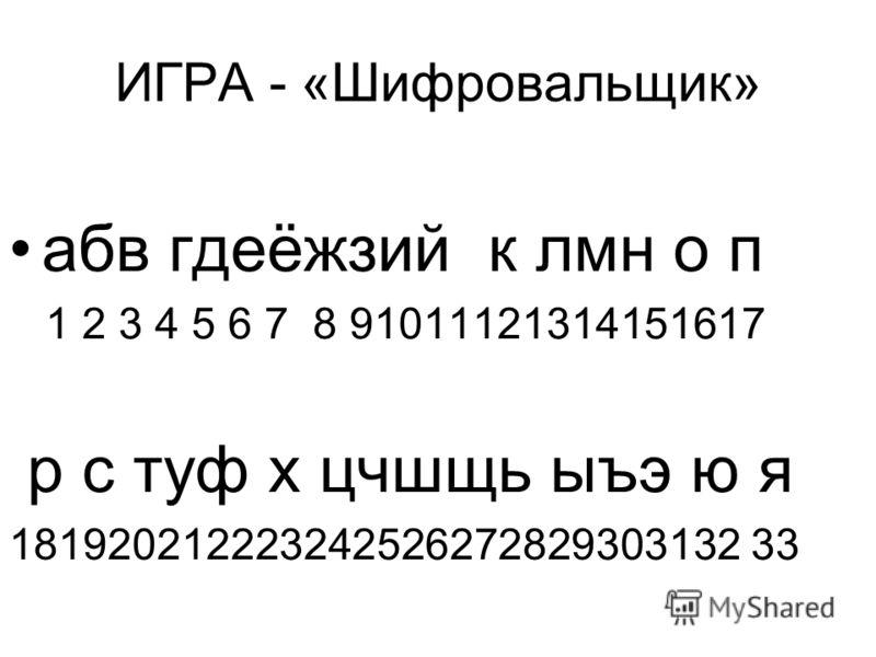 ИГРА - «Шифровальщик» абв гдеёжзий к лмн о п 1 2 3 4 5 6 7 8 91011121314151617 р с туф х цчшщь ыъэ ю я 181920212223242526272829303132 33