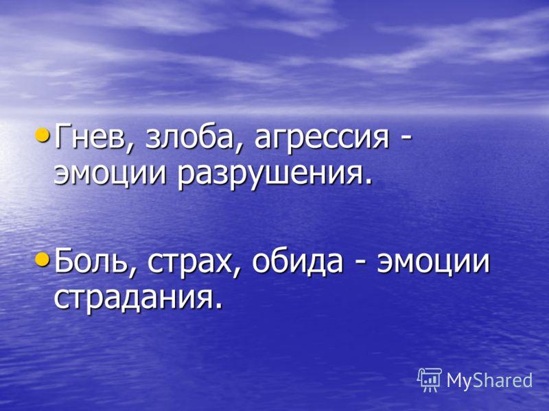 Гнев, злоба, агрессия - эмоции разрушения. Гнев, злоба, агрессия - эмоции разрушения. Боль, страх, обида - эмоции страдания. Боль, страх, обида - эмоции страдания.