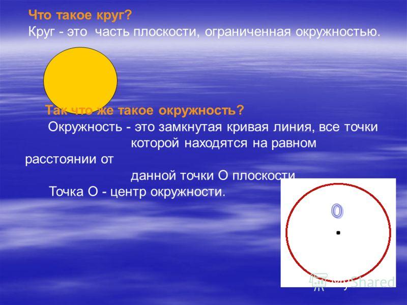 Что такое круг? Круг - это часть плоскости, ограниченная окружностью. Так что же такое окружность? Окружность - это замкнутая кривая линия, все точки которой находятся на равном расстоянии от данной точки О плоскости. Точка О - центр окружности.