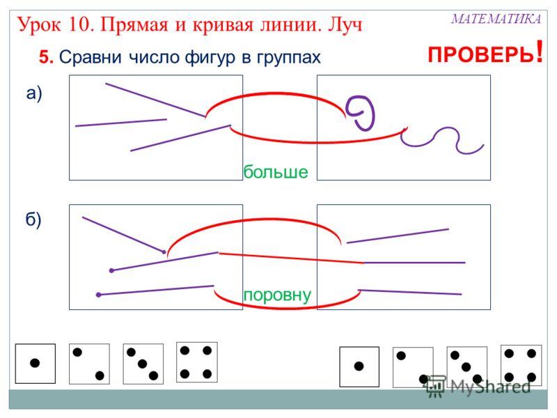 МАТЕМАТИКА Урок 10. Прямая и кривая линии. Луч 5. Сравни число фигур в группах а) б) больше поровну ПРОВЕРЬ !