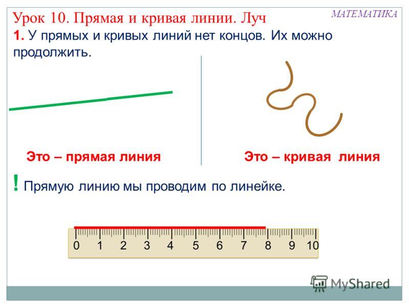 МАТЕМАТИКА Урок 10. Прямая и кривая линии. Луч 1. У прямых и кривых линий нет концов. Их можно продолжить. ! Прямую линию мы проводим по линейке. Это – прямая линияЭто – кривая линия