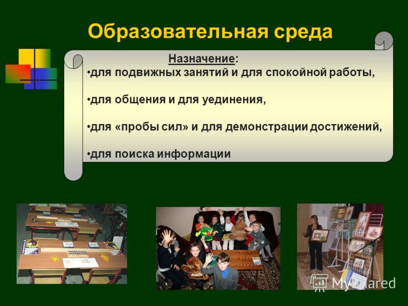 Назначение: для подвижных занятий и для спокойной работы, для общения и для уединения, для «пробы сил» и для демонстрации достижений, для поиска информации Образовательная среда