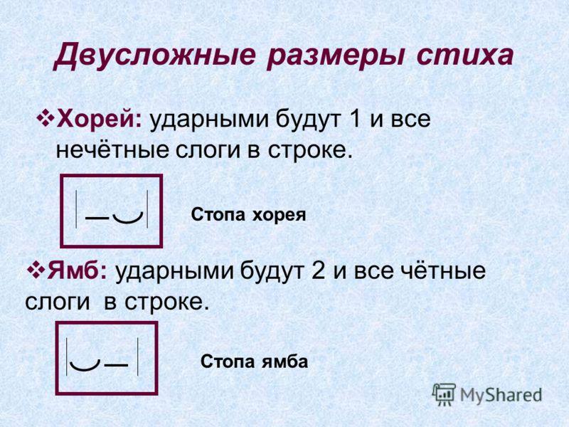 Двусложные размеры стиха Хорей: ударными будут 1 и все нечётные слоги в строке. Стопа хорея Ямб: ударными будут 2 и все чётные слоги в строке. Стопа ямба