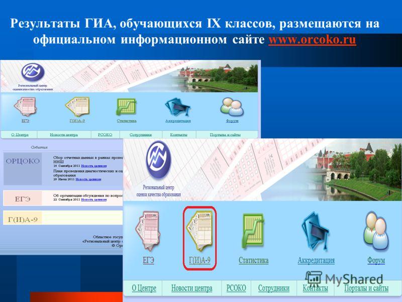 Результаты ГИА, обучающихся IX классов, размещаются на официальном информационном сайте www.orcoko.ruwww.orcoko.ru