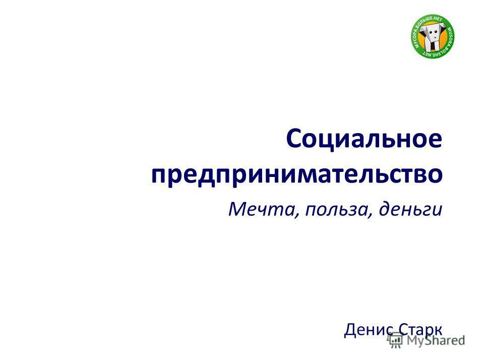 Социальное предпринимательство Мечта, польза, деньги Денис Старк