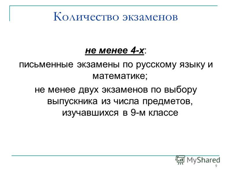 9 не менее 4-х: письменные экзамены по русскому языку и математике; не менее двух экзаменов по выбору выпускника из числа предметов, изучавшихся в 9-м классе Количество экзаменов