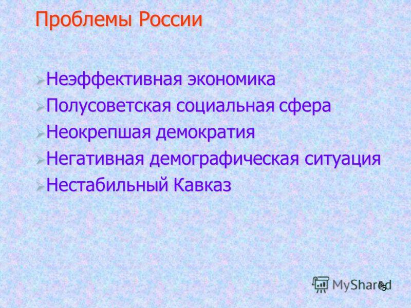 5 55 Проблемы России Неэффективная экономика Неэффективная экономика Полусоветская социальная сфера Полусоветская социальная сфера Неокрепшая демократия Неокрепшая демократия Негативная демографическая ситуация Негативная демографическая ситуация Нес