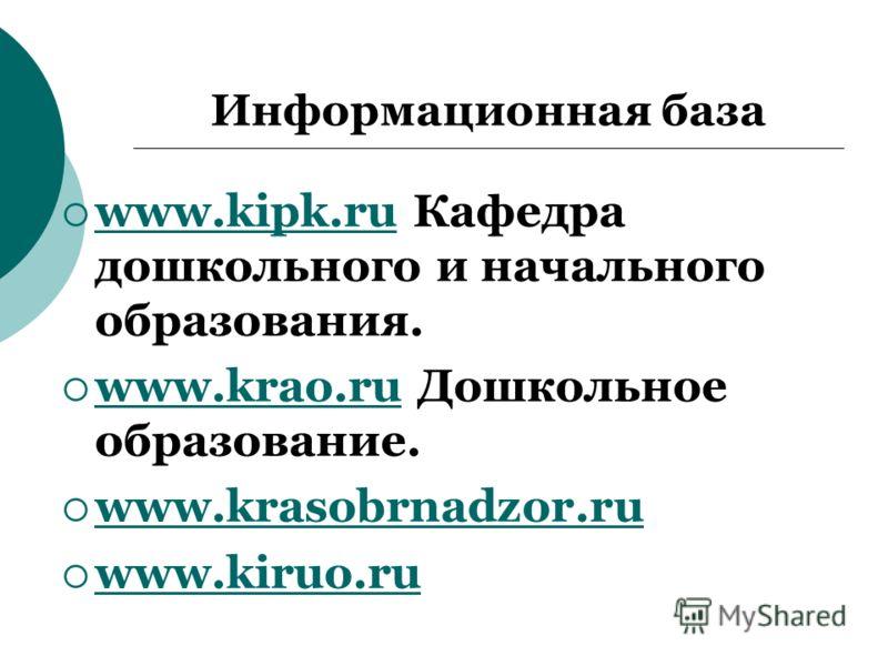 Информационная база www.kipk.ru Кафедра дошкольного и начального образования. www.kipk.ru www.krao.ru Дошкольное образование. www.krao.ru www.krasobrnadzor.ru www.kiruo.ru