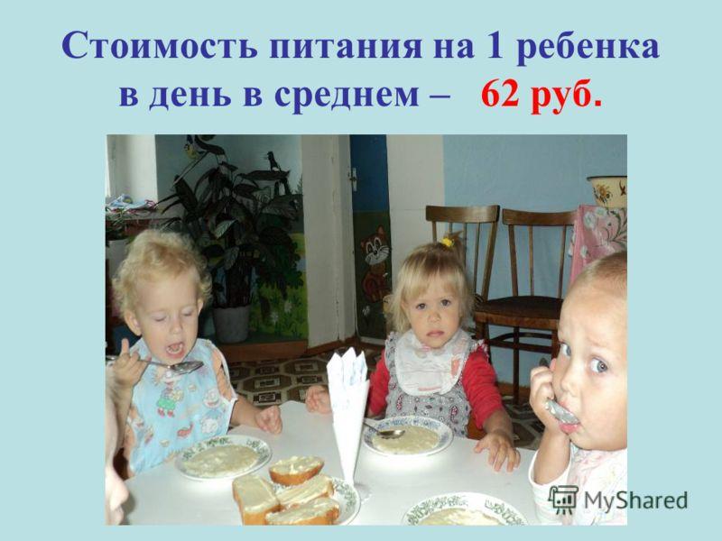 Стоимость питания на 1 ребенка в день в среднем – 62 руб.