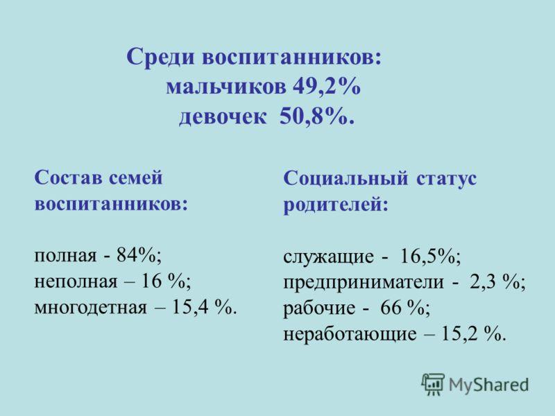 Состав семей воспитанников: полная - 84%; неполная – 16 %; многодетная – 15,4 %. Социальный статус родителей: служащие - 16,5%; предприниматели - 2,3 %; рабочие - 66 %; неработающие – 15,2 %. Среди воспитанников: мальчиков 49,2% девочек 50,8%.