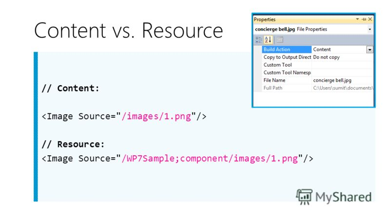 Content vs. Resource // Content: // Resource: