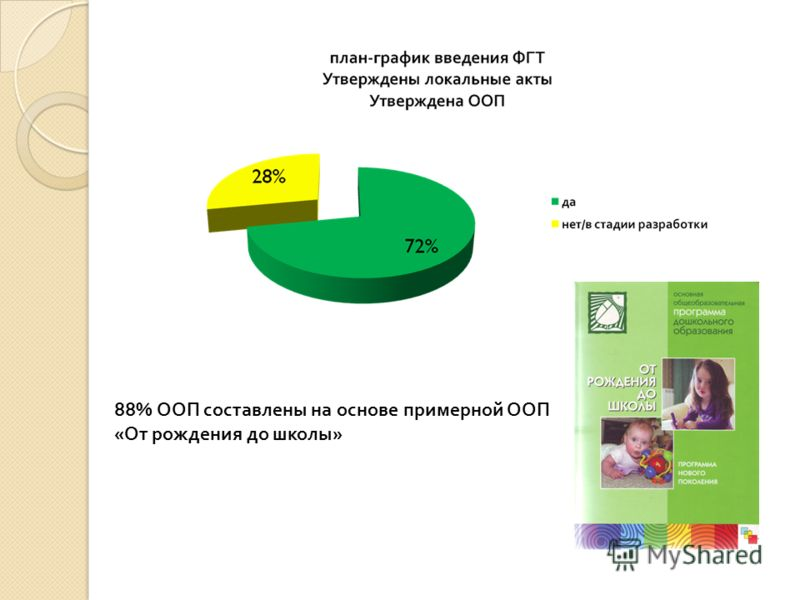 88% ООП составлены на основе примерной ООП «От рождения до школы»