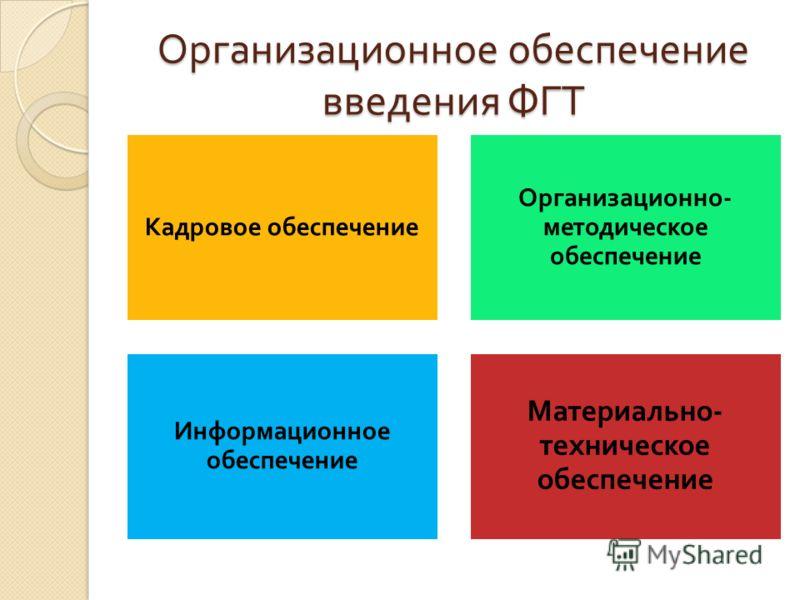 Организационное обеспечение введения ФГТ Кадровое обеспечение Организационно - методическое обеспечение Информационное обеспечение Материально - техническое обеспечение