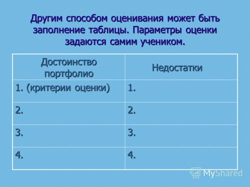 Другим способом оценивания может быть заполнение таблицы. Параметры оценки задаются самим учеником. Достоинство портфолио Недостатки Недостатки 1. (критерии оценки) 1. 2.2. 3.3. 4.4.