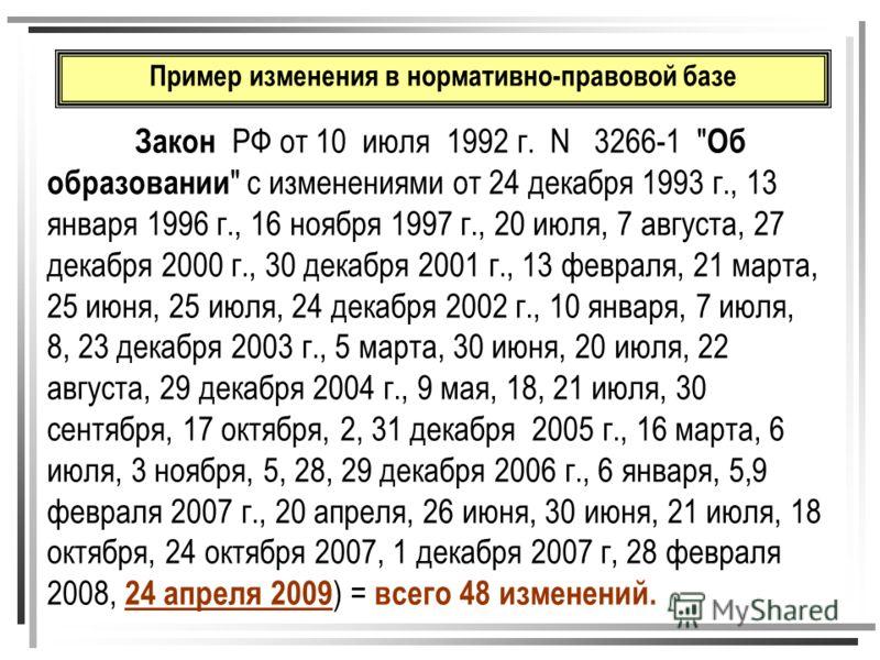 Пример изменения в нормативно-правовой базе Закон РФ от 10 июля 1992 г. N 3266-1