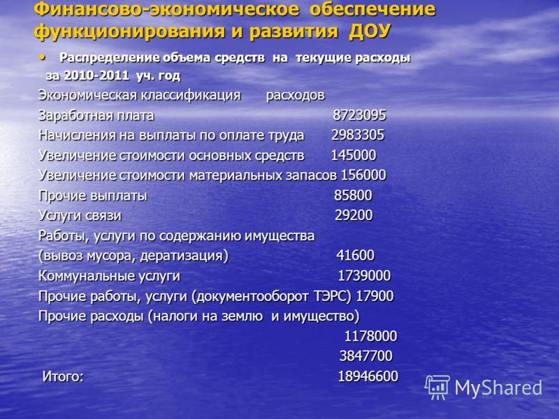 Финансово-экономическое обеспечение функционирования и развития ДОУ Распределение объема средств на текущие расходы Распределение объема средств на текущие расходы за 2010-2011 уч. год за 2010-2011 уч. год Экономическая классификация расходов Экономи