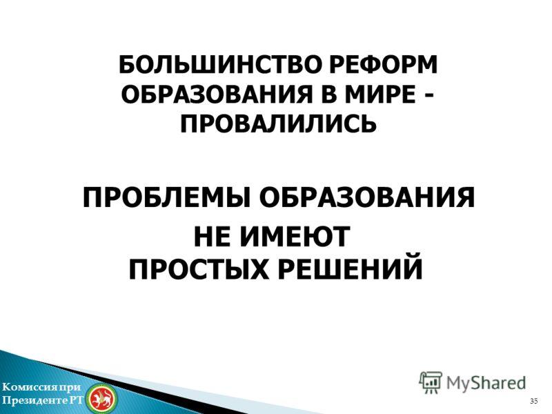 ПРОБЛЕМЫ ОБРАЗОВАНИЯ БОЛЬШИНСТВО РЕФОРМ ОБРАЗОВАНИЯ В МИРЕ - ПРОВАЛИЛИСЬ НЕ ИМЕЮТ ПРОСТЫХ РЕШЕНИЙ Комиссия при Президенте РТ 35