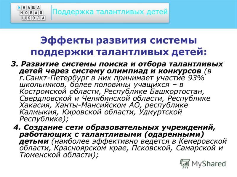 Эффекты развития системы поддержки талантливых детей: 3. Развитие системы поиска и отбора талантливых детей через систему олимпиад и конкурсов (в г.Санкт-Петербург в них принимает участие 93% школьников, более половины учащихся – в Костромской област