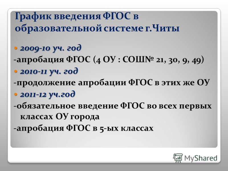 График введения ФГОС в образовательной системе г.Читы 2009-10 уч. год 2009-10 уч. год -апробация ФГОС (4 ОУ : СОШ 21, 30, 9, 49) 2010-11 уч. год 2010-11 уч. год -продолжение апробации ФГОС в этих же ОУ 2011-12 уч.год 2011-12 уч.год -обязательное введ